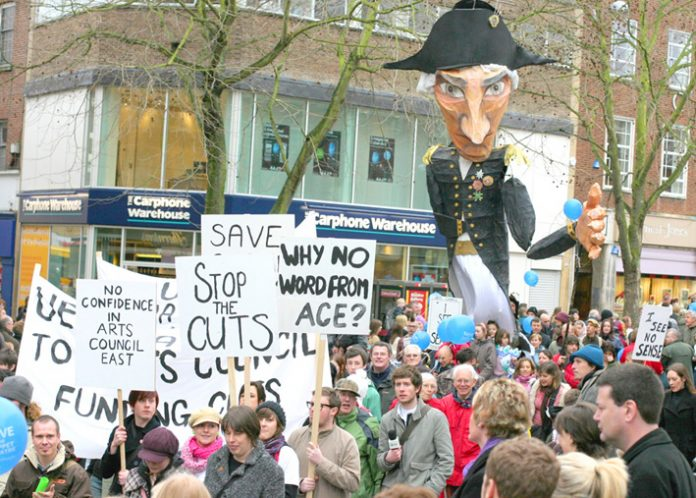 Over 1,000 people marched through Norwich last month against the Arts Council cuts