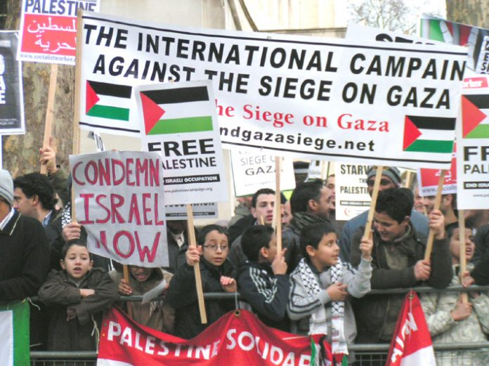 A section of the 5,000-strong demonstration outside Downing Street on January 26 demanding an end to the siege on Gaza