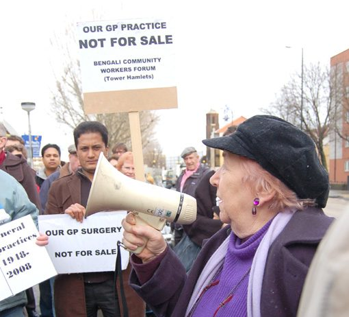 Protesters outside St Paul's Way surgery in Bow last Thursday, demanding that the privateers be kept out