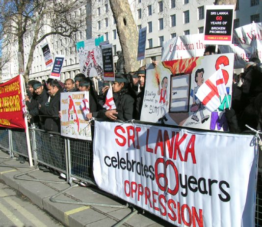 A section of the 3,500-strong picket of Downing Street demanding that Britain intervene to stop the mass murder of Tamil people