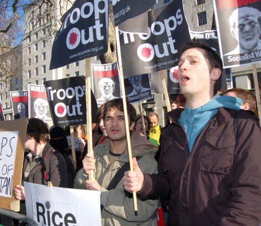 Protesters demanding troops out of Afghanistan picketing Downing Street yesterday