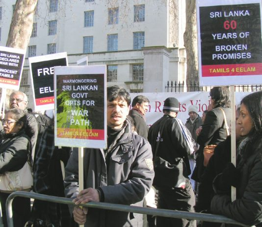 A section of the 3,500-strong protest outside Downing Street last Monday demanding the British government intervene to stop the mass murder of Tamil people
