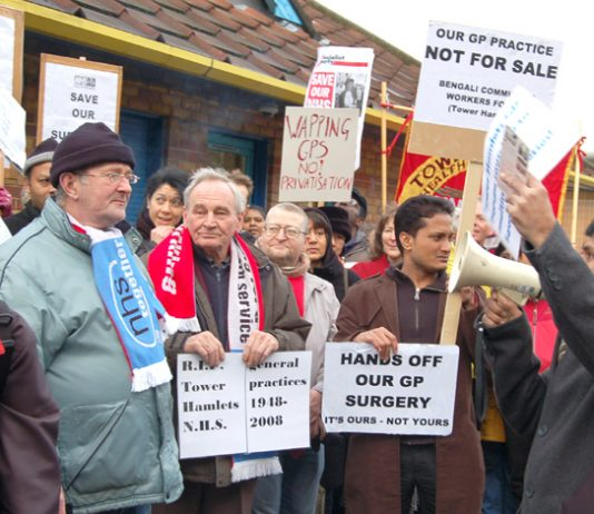 GPs, local residents and trade unionists rally against the privatisation of St Paul's Way surgery in Bow on January 31