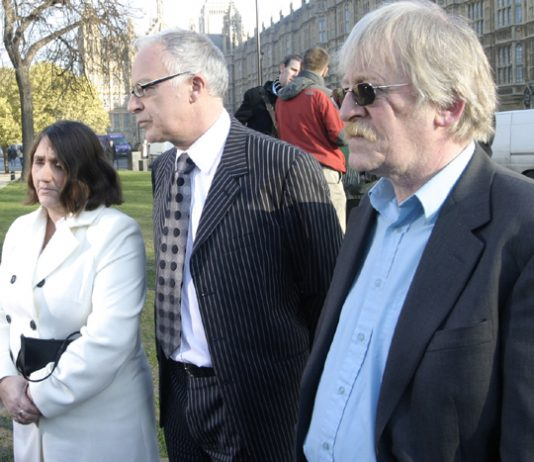 ROSE GENTLE, lawyer PHIL SHINER and PETER BRIERLEY outside the House of Lords yesterday, where they called for a public inquiry into the legality of the Iraq war. Rose Gentle's son Gordon died in Iraq in 2004, aged 19