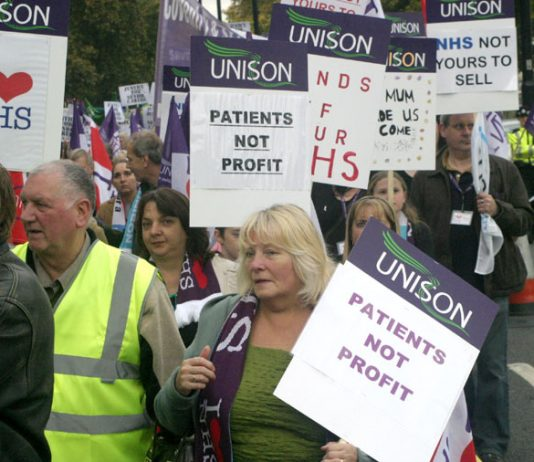 UNISON members marching in London on November 3 last year against the privatisation of the NHS