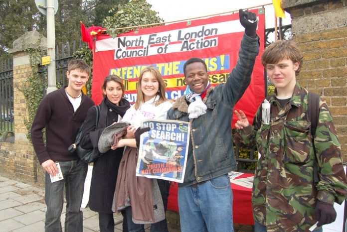 Young Socialist members during yesterday's picket of Chase Farm Hospital