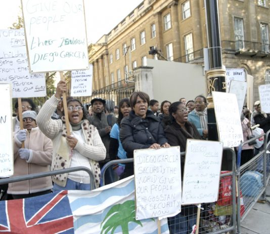 Chagos Islanders picketing Downing Street demanding their right to return to their homes