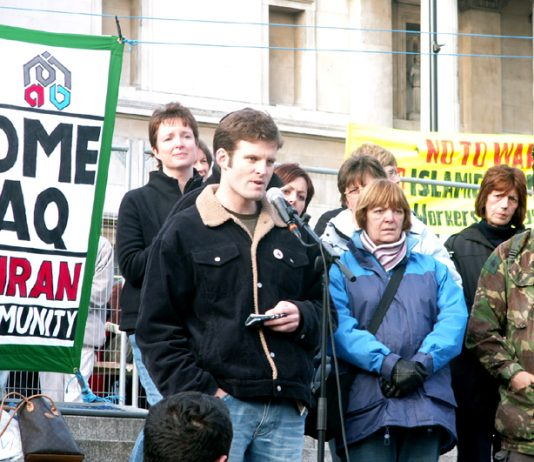 Ex-British SAS soldier Ben Griffin addressing a 'Troops Home' rally in March 2006. He said UK special forces still operate in Iraq, at a London press conference hosted by the Stop the War Coalition which has called another demonstration for March 15