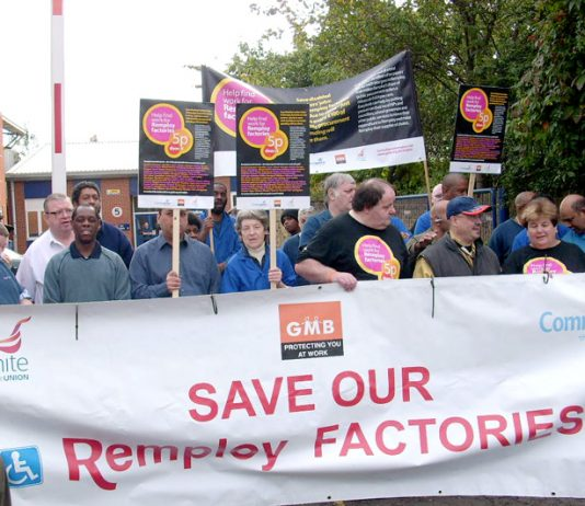 Remploy workers outside the company's Brixton factory during their national march last year