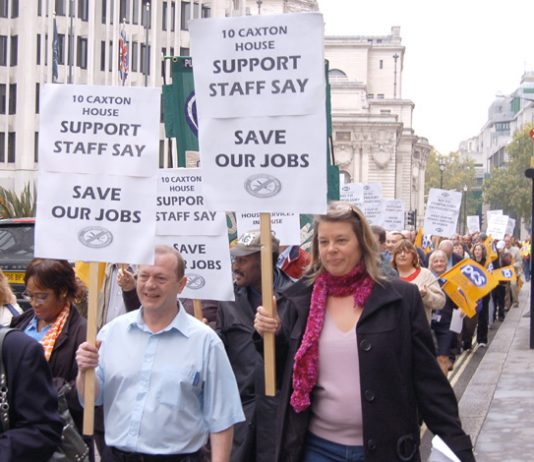 PCS members marching in central London against attacks on jobs and pensions on October 12 last year