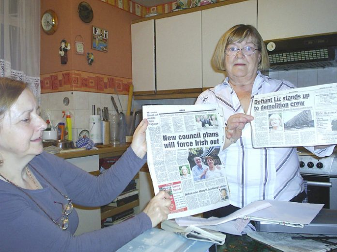 Tenants Bridget Burrows and Liz Grace, who said council housing was a major gain for working-class people