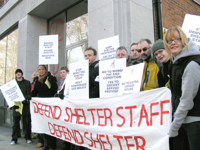 Striking Shelter staff demonstrating yesterday at the housing charity's headquarters in Old Street