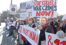Over 200 people took part in yesterday's emergency demonstration opposite parliament against Israeli massacres of Palestinians