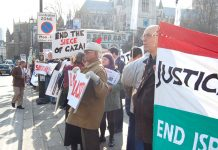 Wednesday's emergency demonstration opposite parliament against Israel's massacre of Palestinians in Gaza