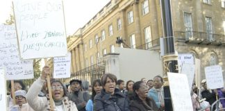 Chagos Islanders and their supporters lobbying Downing Street last November 10th