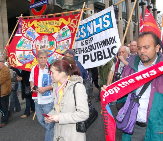 Southwark banners on the NHSTogether demonstration in defence of the NHS last November 3rd