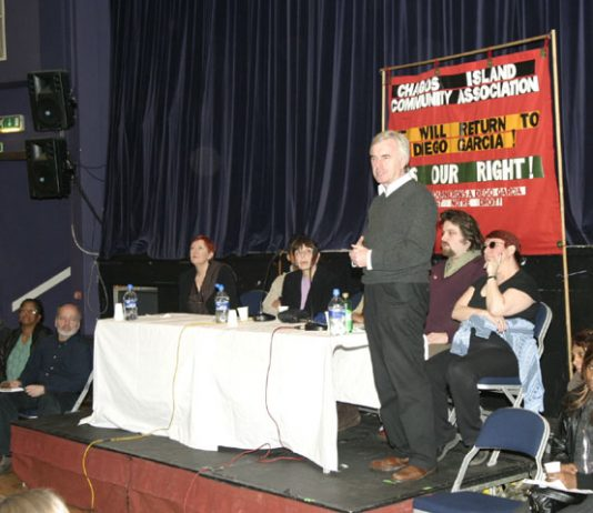 Labour MP John McDonnell addressing the meeting. Next to him is James Rolls (SERTUC) and Zina Dodgson (UNISON). Third from left is Andy Reid from the PCS National Executive Committee