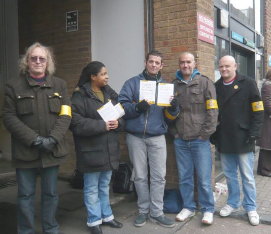 PCS pickets at the Elthorne Road Job centre in Holloway