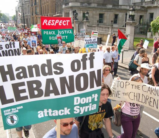Demonstration in London on August 8 2006 demanding an end to the Israeli attack on Lebanon