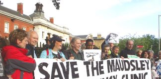 Protest last May against the closure of the Maudsley  Emergency Clinic in Camberwell