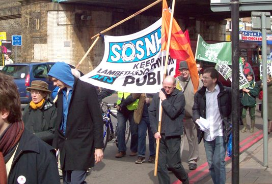 Some of the demonstrators who took part in the march through Lewisham on Saturday to keep south-east London hospitals open