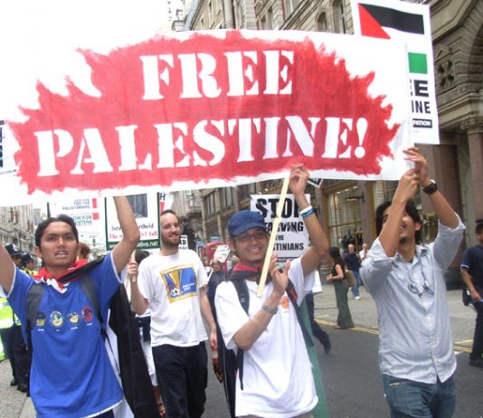 Marchers in London with a clear message in support of a Palestinian state