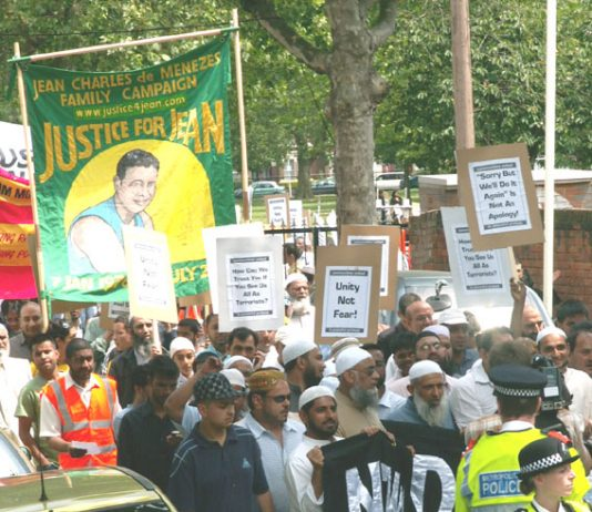 Thousands marched through east London in 2006 to protest at a massive police raid on homes in Forest Gate, in which one young man was wounded, before being detained with his brother. Both were eventually released