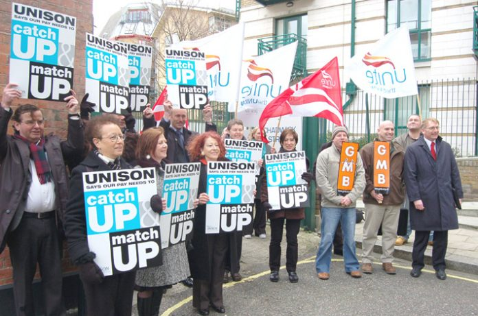 Local government workers lobbying over their pay last month – facing Labour imposed wage cuts and inflation – while Labour MPs live off the fat of the land