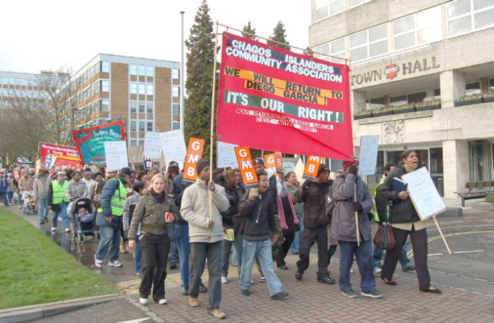 Chagos Islands Community Association and their supporters marching in Crawley on February 10th last year