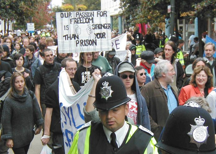 Demonstration in Crawley last September against the building of a new Immigration Removal Centre near Gatwick Airport