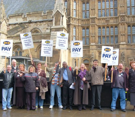 Civil servants lobbying MPs last month against poverty pay