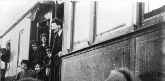 Trotsky's triumphant return to Russia, on May 4th 1917 at the Finland Station in Petrograd where he formed a common front with Lenin in condemning the Provisional Government and called for the Soviets to take power