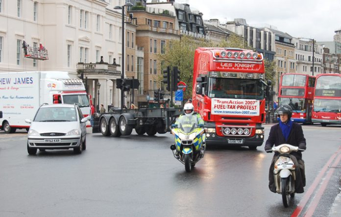 The fuel tax convoy arrives in Westminster on Tuesday