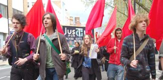 Young Socialists on yesterday's march with the Justice for the Sacked Gate Gourmet Workers' banner just behind them