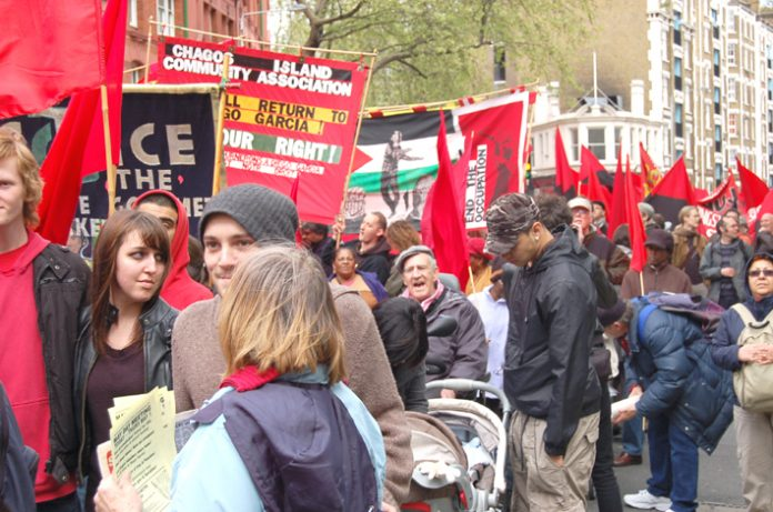 A section of the 4,000-strong May Day march in London