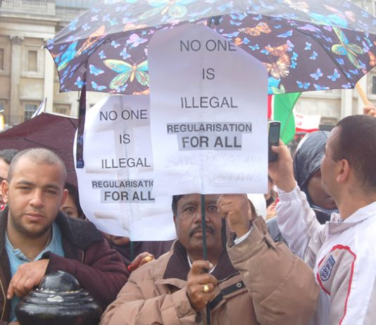 Migrant workers  demonstrate against illegality on a march in London in May last year