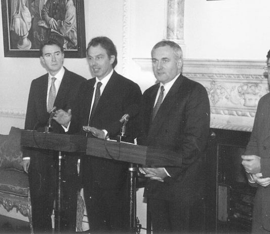 AHERN with 'BIFFO' COWEN (right) in Downing Street with BLAIR and MANDELSON (left)