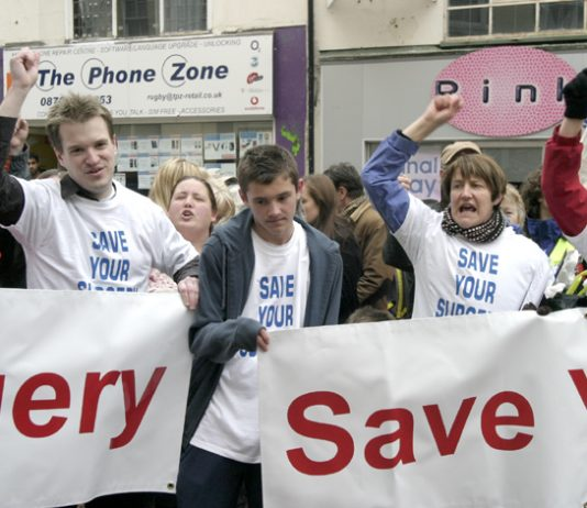 GPs demonstrating to 'save your surgery' in Rugby earlier this year