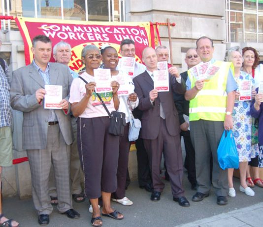 More than 50 local residents joined members of the CWU postal workers' union at the protest on Monday