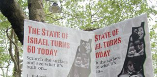 Protesters in London last Saturday make it clear what 60 years of the Israeli state has meant to Palestinians