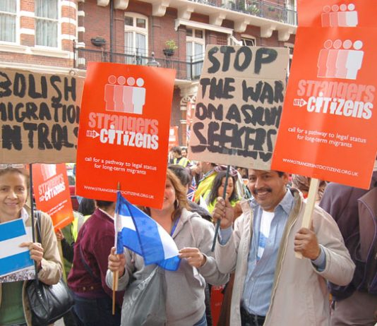 Marchers on the 'Strangers to Citizens' march of migrant workers in London on May 6th last year