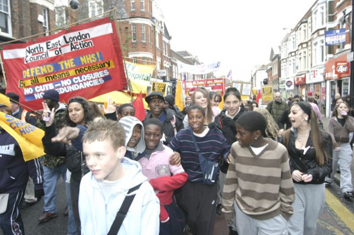 Young people at the front of the 3,000-strong NE London Council of Action march against the closure of Chase Farm Hospital in Enfield last November