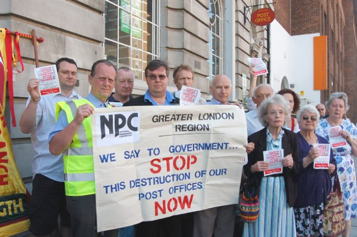 Pensioners protest against the closure of their local post office