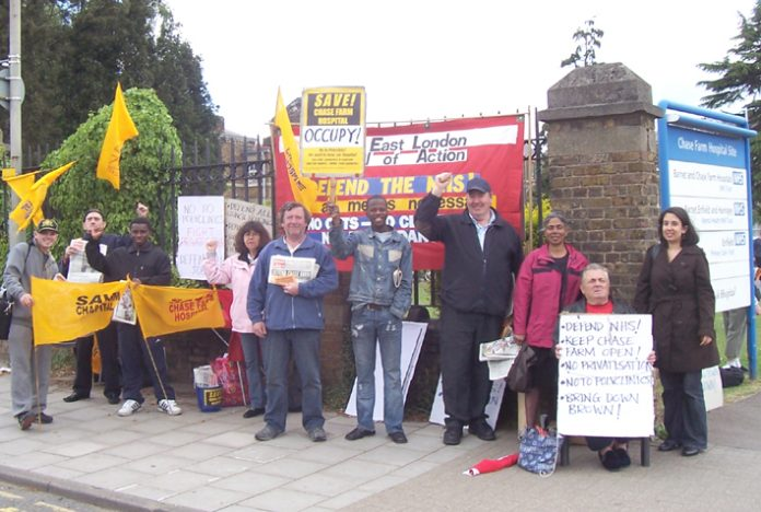 A section of the North-East London Council of Action picket outside Chase Farm Hospital yesterday
