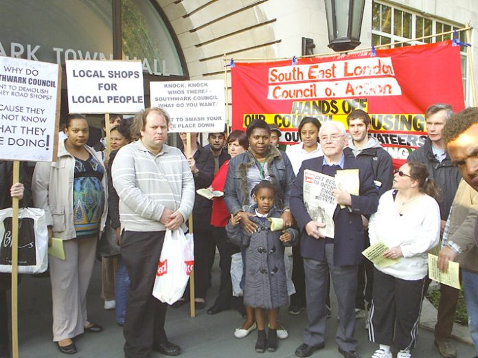 A section of Wednesday night's South East London Council of Action lobby of Southwark Council demanding no demolitions