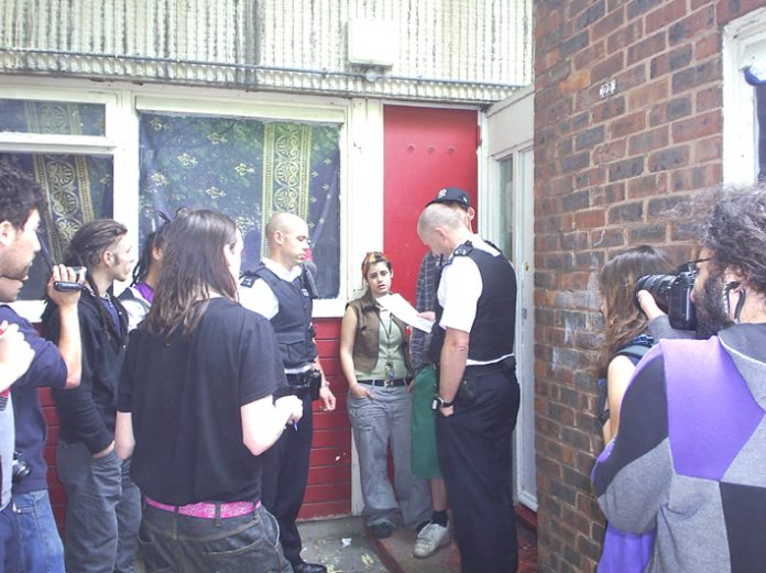 Police trying to enforce an eviction on the Heygate estate yesterday but were unsuccessful due to the opposition of residents