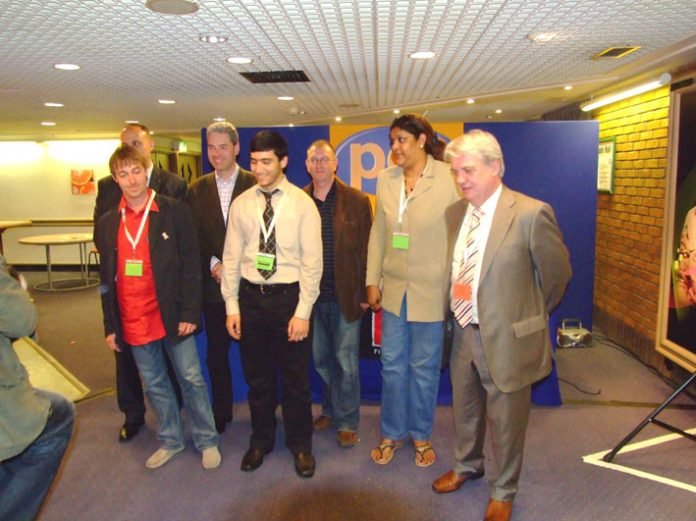 International speakers at the PCS conference: French trade union leader Christian Grolier (left), Palestinian student Khaled Al-Mudallal (centre) and Hengride Permal, chair of the Chagos Islands Community Association (second from right)