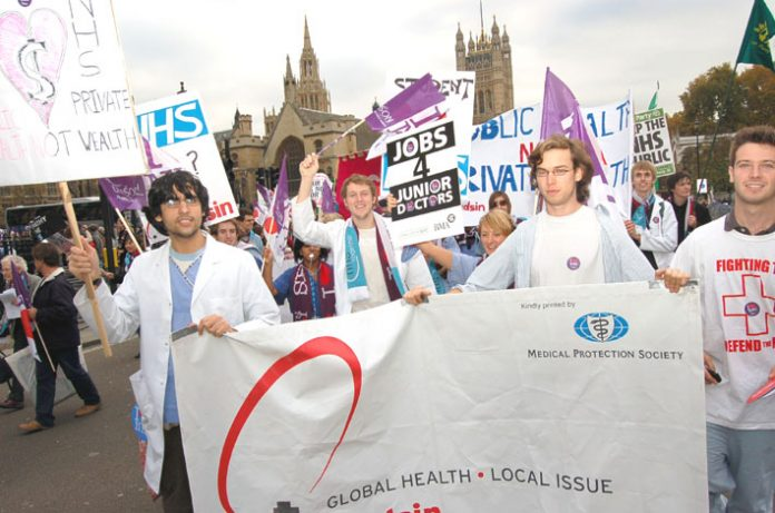 Junior doctors join a demonstration in London against the privatisation of the NHS