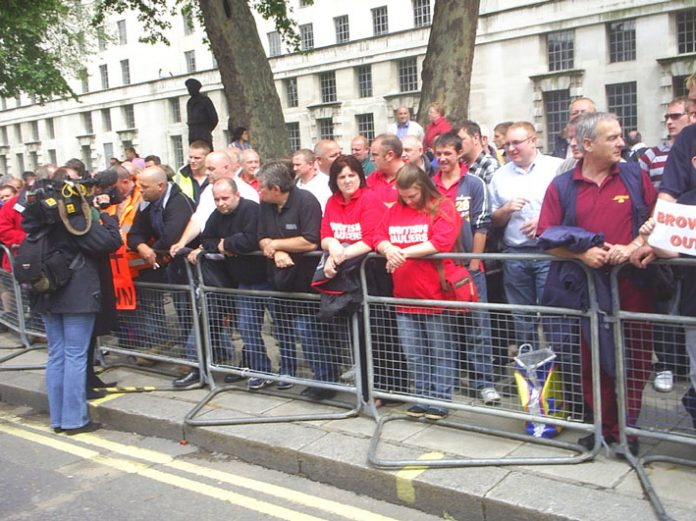 Fuel protesters outside Downing Street demanding a fuel tax relief to defend their livelihoods