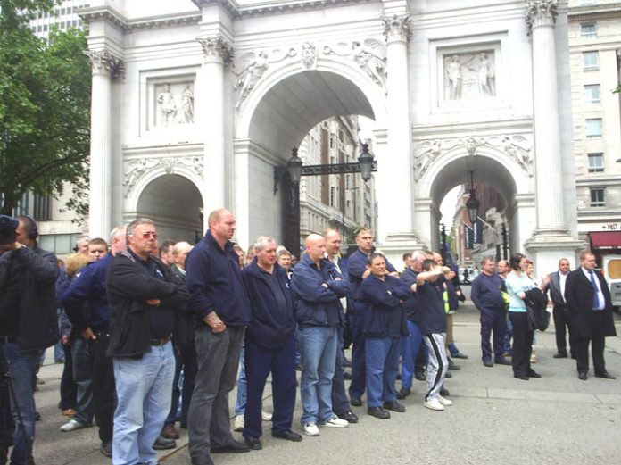 Very determined road haulage workers gathering at Marble Arch before proceeding to Downing Street to hand in a letter
